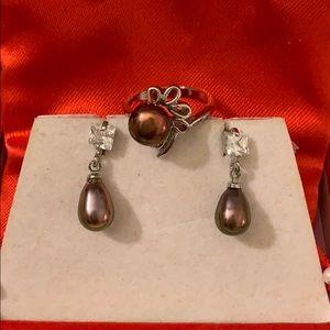 18KGP black pearl earring&ring set